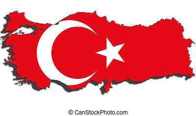 schets, van, turkije, met, de, nationale vlag