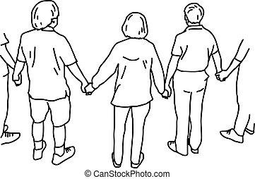 schets, vasthouden, mensen, -, vrijstaand, illustratie, hand, lijnen, vector, zwarte achtergrond, handen, getrokken, witte