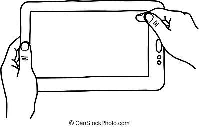 schets, vasthouden, tablet pc, digitale , -, vrijstaand, illustratie, hand, lijnen, vector, zwarte achtergrond, handen, getrokken, witte