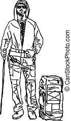 schets, vector, backpacker., illustratie