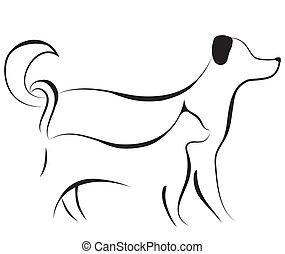 schets, vector, dog, kat