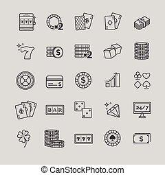 schets, vector, iconen, -, casino, geluksspelletjes, pook, spel