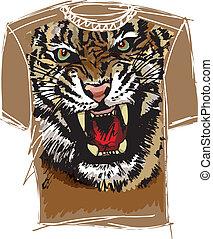schets, vector, tee, illustratie, tiger.