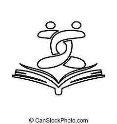 schets, verplichting, samen, boek, teamwork, logo, opleiding, open