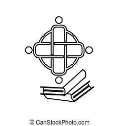 schets, verplichting, samen, boek, teamwork, logo, opleiding