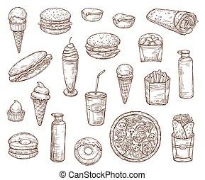schets, voedingsmiddelen, menu, vasten, hapjes, maaltijden
