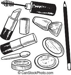 schets, voorwerpen, schoonheidsmiddelen