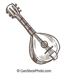 schets, vrijstaand, muziek, domra, instrument, muzikalisch,...