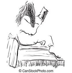 schets, vrouw, boek, lezende