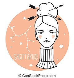 schets, vrouw, boogschutter, stijl, girl., zodiac