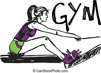 schets, vrouw, gym, -, het uitoefenen, illustratie, club.,...