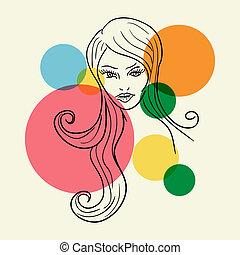schets, vrouw, mode, gezicht