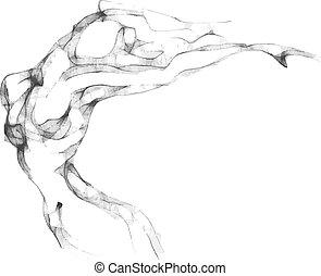 schets, vrouw, torso