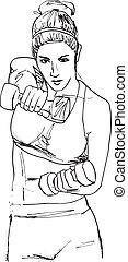 schets, vrouw, werkende , gym, illustratie, vector,...