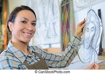 schets, vrouwlijk, vasthouden, kunstenaar