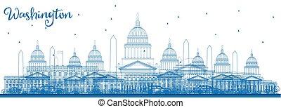 schets, washington dc, skyline, met, blauwe , gebouwen.
