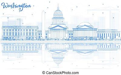 schets, washington dc, skyline, met, blauwe , gebouwen, en, reflections.