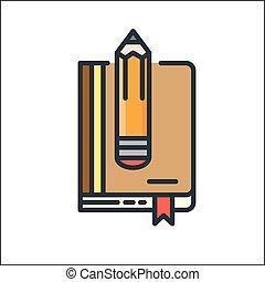schets, werken boek, pictogram