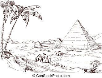 schets, woestijn, wandeling