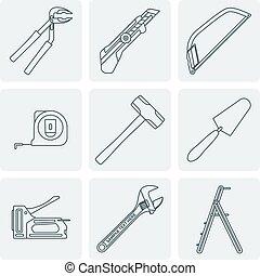 schets, woning, grijze , ic, gereedschap, remodel