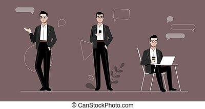 schets, zelf, zakenman, anders, jonge, abstract, concept., maniertjes, zeker, illustratie, set, plat, spotprent, infographic, toestanden, beroep, achtergrond., vector, lineair