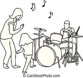 schets, zijn, trommel, schets, gezin, dancing, concept., vrouw, lijnen, vrijstaand, illustratie, hand, achtergrond., vector, black , getrokken, meisje, man, spelend, witte , vrolijke