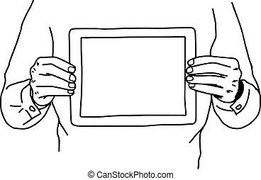 schets, zijn, vasthouden, tablet, -, vrijstaand, illustratie, twee, lijnen, borst, vector, zwarte achtergrond, handen, getrokken, witte , hand