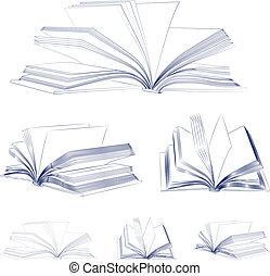 schetsboek, open, set
