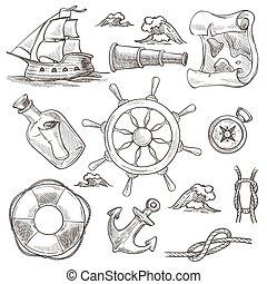 schetsen, knopen, symbolen, werkjes, zee, schip, monochroom, boodschap, scheeps , vrijstaand, roer, zeilen, verrekijker, wiel, kaart, kompas, wereld, marinier, tv nieuws , koord, lifebuoy, vector, fles, of