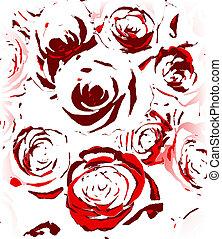 schetsen, model, achtergrond, rozen, wit rood, seamless