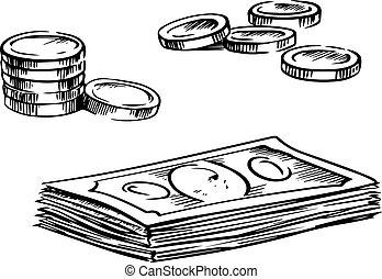 schetsen, muntjes, dollar, opperen, rekeningen