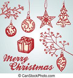 schetsen, ornament, kerstmis
