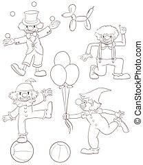schetsen, vlakte, clowns, speels