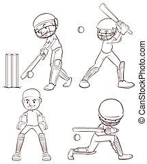 schetsen, vlakte, cricket spelers