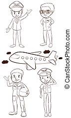 schetsen, vlakte, piloten