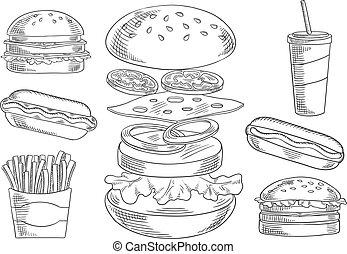 schetsen, voedingsmiddelen, dranken, vasten, hapjes