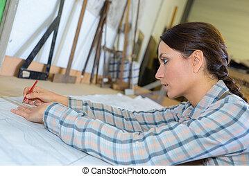 schetsen, vrouwlijk, kunstenaar