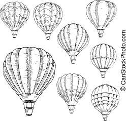 schetsen, warme, vliegen, ballons, lucht