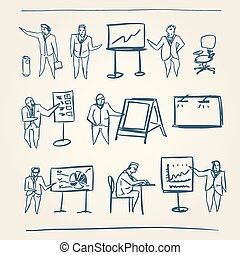 schetsen, zakenlui
