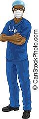 scheuert, doktor, krankenschwester, uniform, ppe, oder, ...