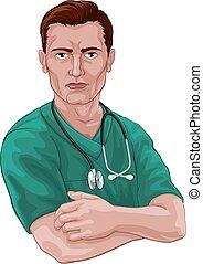 scheuert, krankenschwester, doktor, stethoskop, oder