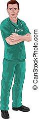scheuert, stethoskop, oder, doktor, krankenschwester