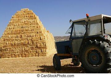 scheune, gestapelt, und, landwirtschaft, traktor