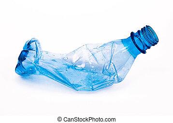 schiacciato, bottiglia, plastica