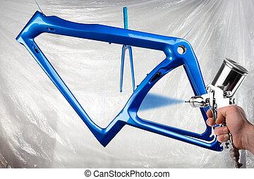 schicht, straße, blaues, front, frisch, gewehr, hintergrund, fahrrad, glänzend, kohlenstoff, produktion, fertigungsverfahren, lackierer, metallisch, neu , produzieren, booth., gabel, rennsport, farbe, lackierung, sprühen, hand, radfahren