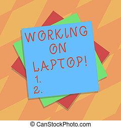 schicht, tragbar, farbe foto, laptop., zeichen, papier, gemacht, leer, arbeitende , text, begrifflich, shadow., mehrfach, ausstellung, arbeit, blätter, pappe, leicht, bekommen, edv, klein