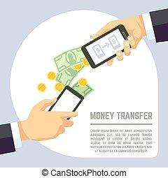 schicken, und, annahme, geld, radio, mit, bewegliche telephone, bankwesen, zahlung, apps, vektor, concept.