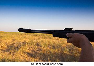 schießen, mit, a, gewehr, auf, der, natur