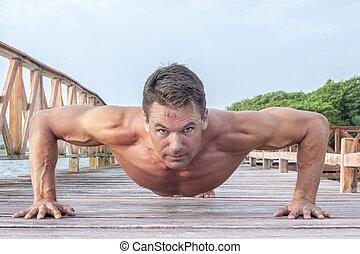 schieben, workout, draußen, auf
