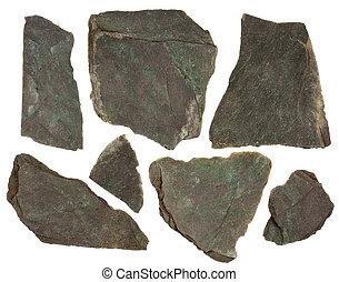 schiefer, stücke, rotes , tönung, grün, gestein